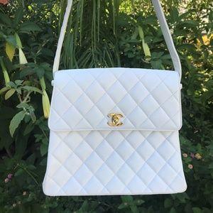 RARE Chanel White Lambskin Flap Bag Shoulder Bag
